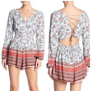 Onetheland Open Lace Up Back Floral Shorts Romper